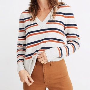 Madewell V-Neck Striped Soft Sweater